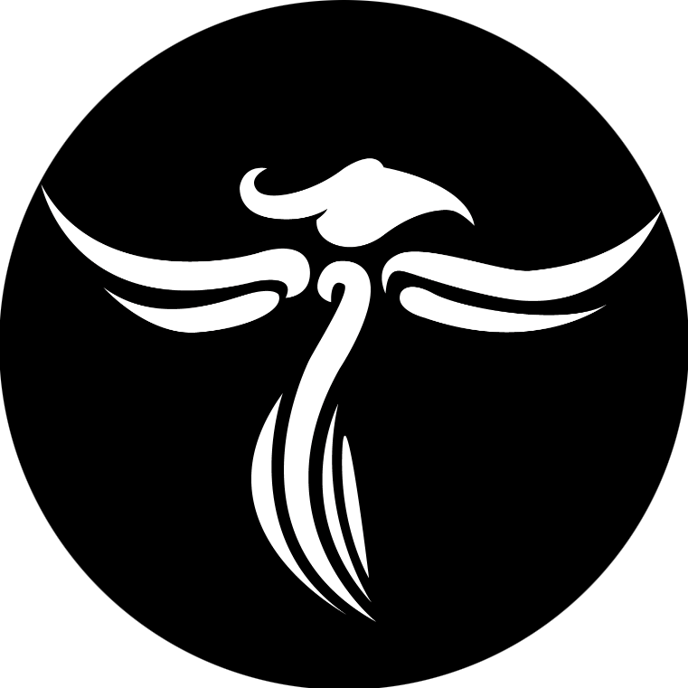 Logo Jentayu, phénix stylisé blanc sur fond noir